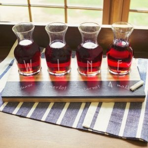 Personalized Bamboo & Slate Wine Tasting Flight image