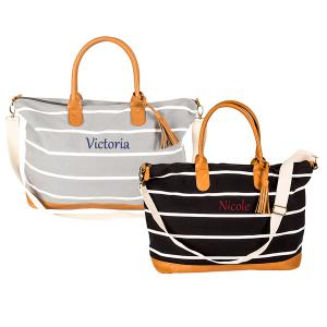 Personalized Black Striped Canvas Oversized Weekender Tote image