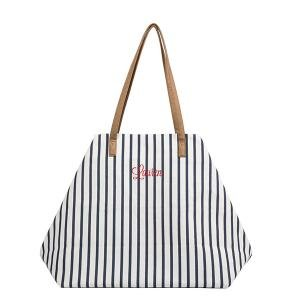 Personalized Striped Overnight Tote image