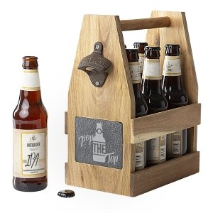 Pop the Top Acacia Slate Beer Carrier with Bottle Opener image