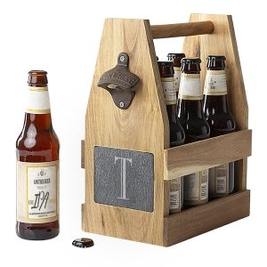 Personalized Acacia Slate Beer Carrier with Bottle Opener image
