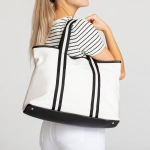 Nantucket Tote with Black and White Stripe Handles image