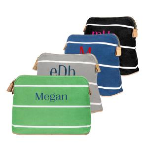 Personalized Green Striped Cosmetic Bag image