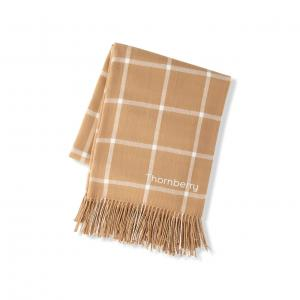 Personalized Windowpane Throw Blanket- Camel image