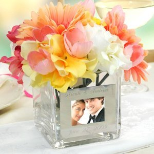 Personalized Square Glass Photo Vase image