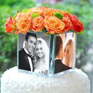 Glass Cube Photo Cake Topper & Vase image