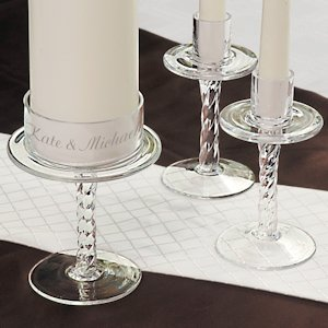 Personalized Glass Pedestal Unity Candle Stands image