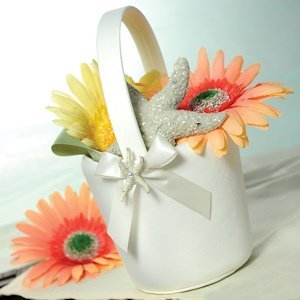 Beach Collection Flower Girl Basket - Ivory or White image