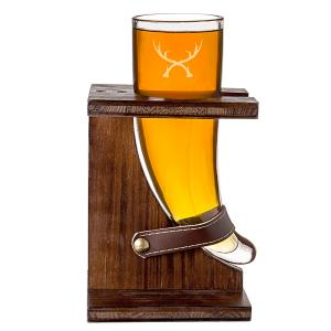 16 oz. Glass Antlers Viking Beer Horn with Rustic Stand image