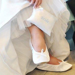 Bride Ballet Shoes with Embroidered Gift Pouch image