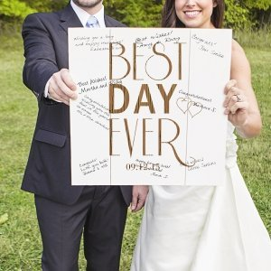 Personalized Best Day Ever Wood Art Guest Book image