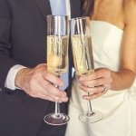 Personalized Best Day Ever Contemporary Champagne Flutes