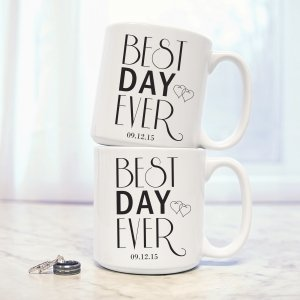 Personalized Best Day Ever Large Coffee Mugs (Set of 2) image