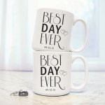 Personalized Best Day Ever Large Coffee Mugs (Set of 2)