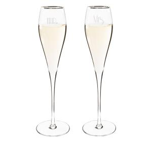 Mr. & Mrs. Gatsby Silver Rim Champagne Flutes image