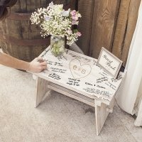 Personalized Rustic Heart Wooden Guest Book Bench