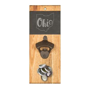 My State Slate & Acacia Wall Mount Bottle Opener with Magnet image