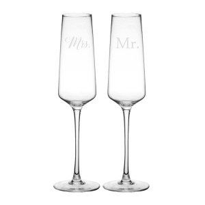 Mix and Match Mr or Mrs Wedding Champagne Estate Glasses image