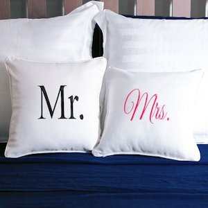 Mr. and Mrs. Throw Pillow Set image