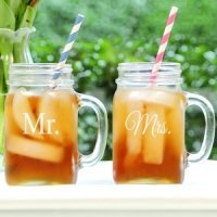 Mr. and Mrs. Old Fashioned Drinking Jar Set