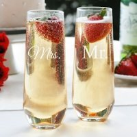 Mr. and Mrs. Stemless Champagne Flutes