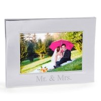 Mr. & Mrs. Beaded Silver Wedding Frame