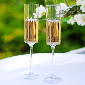 Contemporary Mr. and Mrs. Champagne Flutes image
