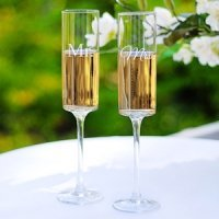 Contemporary Mr. and Mrs. Champagne Flutes