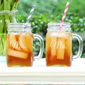 Mrs. & Mrs. Old Fashioned Drinking Jar Set image