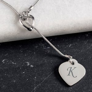 Monogrammed Double Heart Necklace image
