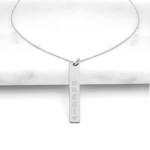 Personalized Vertical Bar Necklace (Silver or Gold) image