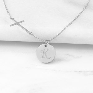 Personalized Cross Necklace with Charm image