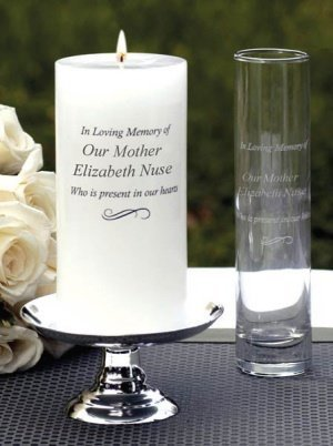 Personalized Memorial Candle & Bud Vase image