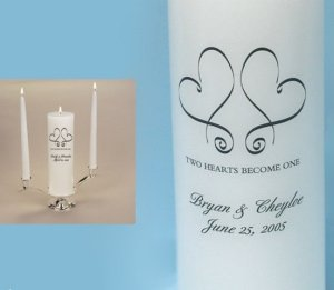 Whimsical Hearts Personalized Unity Candle Set image