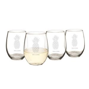 Personalized 21 oz. Pineapple Stemless Wine Glasses image