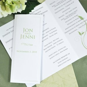 Pearl Border Tri-Fold Paper for Wedding Programs (50) image