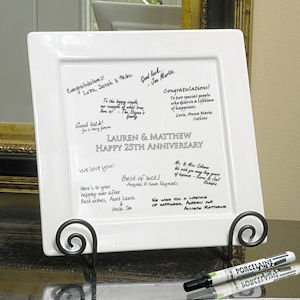 Personalized Signature Square Platter Pen & Easel Set image