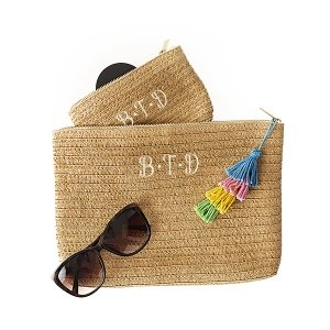 Personalized Straw Clutch Set with Tassel image