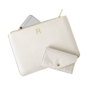 Personalized Vegan Leather Clutch and Envelope Wallet Set image