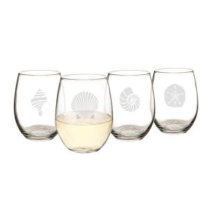 21 oz. Seashell Stemless Wine Glasses image