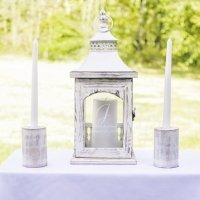 Personalized Rustic Unity Lantern with Candle Holders