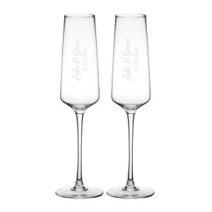 Personalized Wedding Champagne Glasses Set of 2 image
