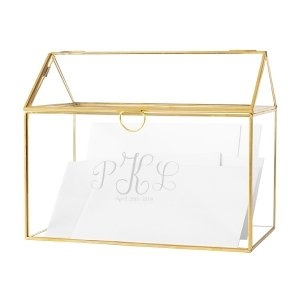 Personalized Gold Wedding Glass Terrarium Gift Card Holder image