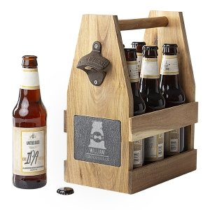 Wedding Acacia Slate Beer Carrier with Bottle Opener image