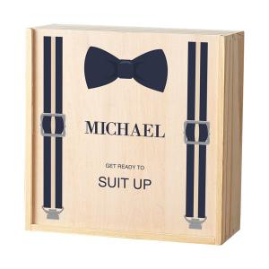 Personalized Bow Tie Wooden Groomsman Gift Box image