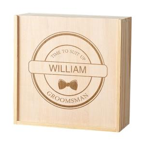 Personalized Groomsman Craft Beer Wooden Gift Box image