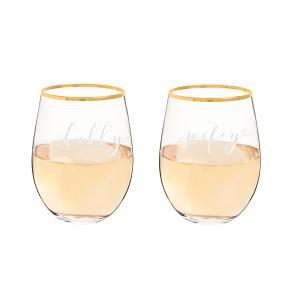 Hubby & Wifey 19.25 oz. Gold Rim Stemless Wine Glasses image