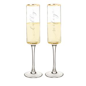 Hubby & Wifey 8 oz. Gold Rim Contemporary Champagne Flutes image