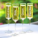 Wedding Party Champagne Flutes (Set of 4)