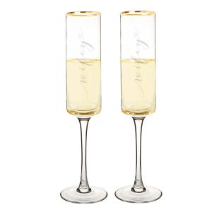 Wifey & Wifey 8 oz. Gold Rim Contemporary Champagne Flutes image